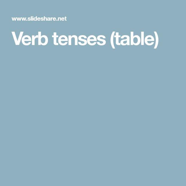Verb tenses (table)