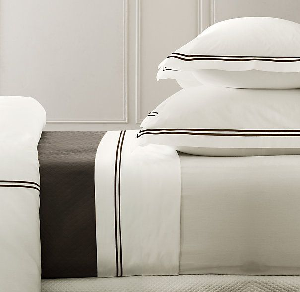 Ivory with Taupe strip.  $279 for Duvet  .Italian Hotel Satin Stitch Bedding Ivory Collection Restoration Hardware.