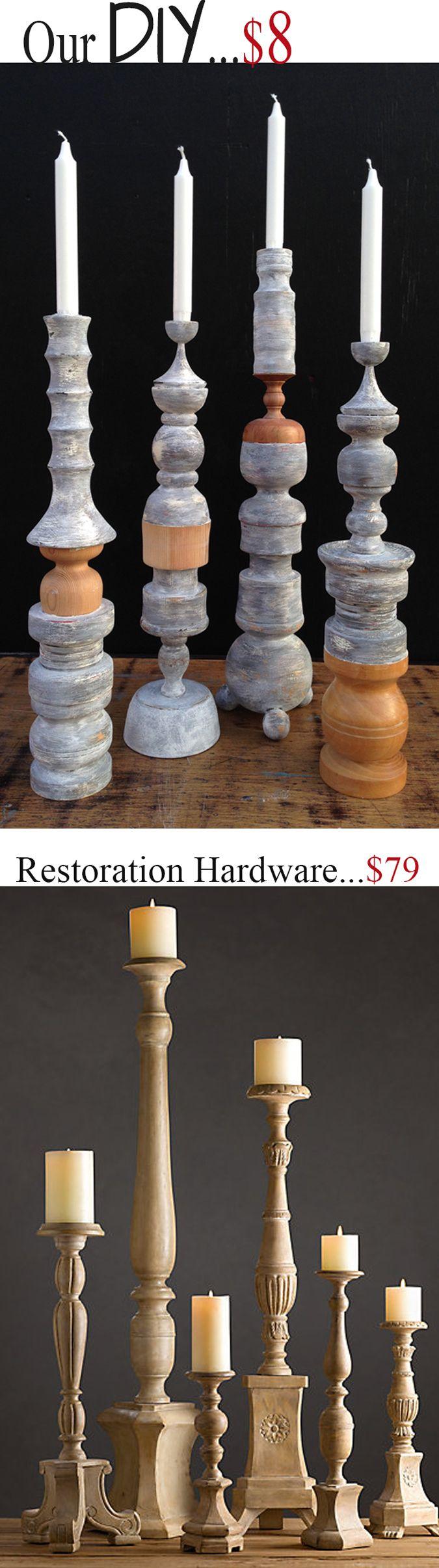 our #DIY #candlesticks for $8 vs. Restoration Hardware for $79.