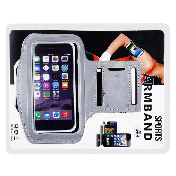"Apple iPhone 6 Plus (5.5"") - Athletic Runner Armband Silver"