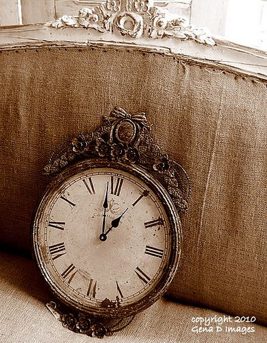"I love the idea of vintage clocks as a part of every centrepiece- ""For All Time"""