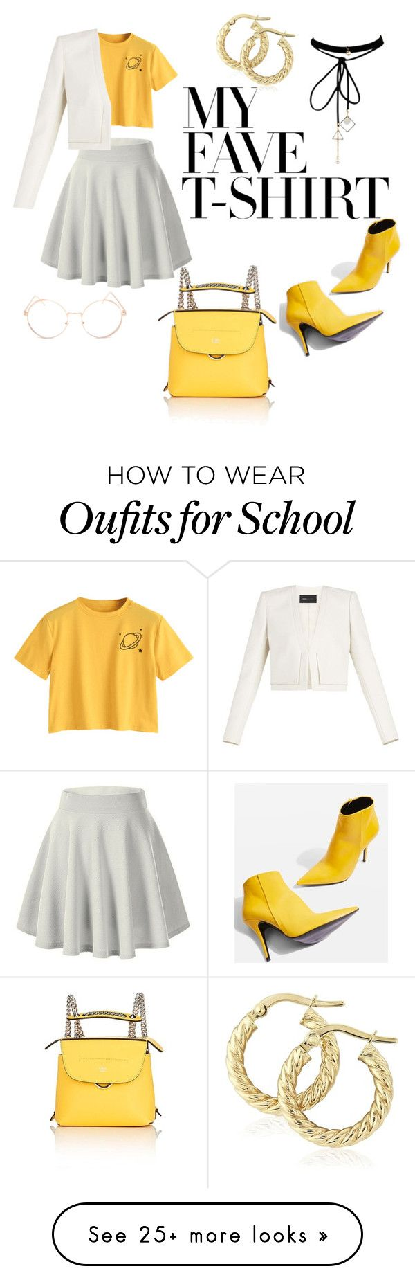 """""""dress up a t-shirt"""" by paige-kendall on Polyvore featuring Topshop, BCBGMAXAZRIA, Fendi, Full Tilt and MyFaveTshirt"""