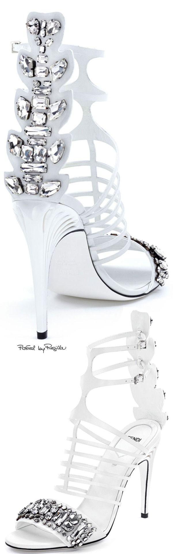 Fendi ~ White Leather Sandals w Crystal Embellished Heels 2015