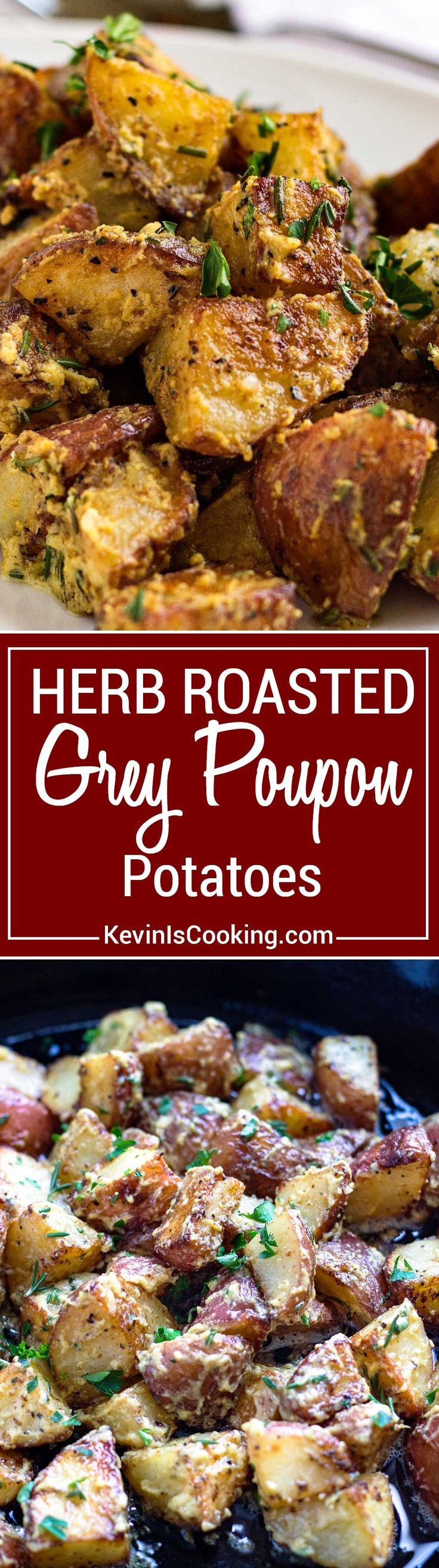These Herb Roasted Poupon Potatoes couldn't be any easier. Caramelized red potatoes that are crispy on the outside all coated with a tangy sauce. Great family side dish that pleases!