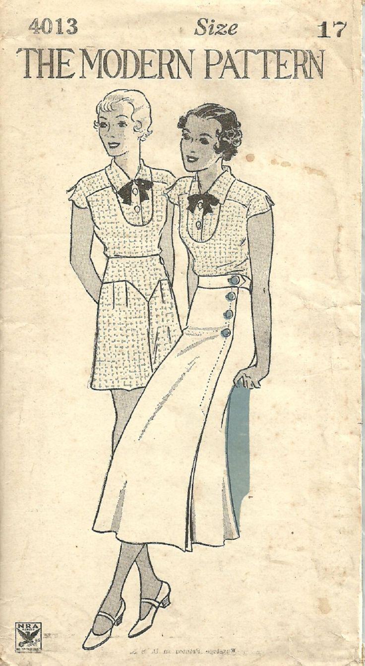 D'epoca degli anni trenta cartamodello moderno modello 4013 / / tutina Shorts pagliaccetto gonna / / dimensioni busto 17 35 di studioGpatterns su Etsy https://www.etsy.com/it/listing/190232788/depoca-degli-anni-trenta-cartamodello