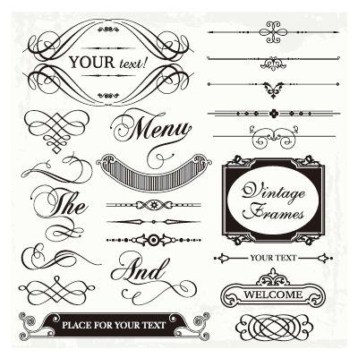 カリグラフィーの飾り文字や飾り素材セット(3)