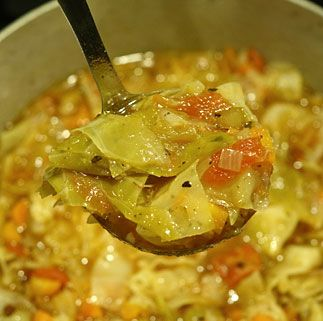 Hearty Cabbage Soup - •1/2 head cabbage, roughly chopped •1 cup celery, diced •1 cup onion, diced •8oz lean ham, diced •2-3 cloves garlic, minced •4 cups vegetable or chicken broth •14 ounce can fire roasted diced tomatoes with juice •1 tsp oregano •2 tsp basil •2 whole Bay leaves •salt and black to taste
