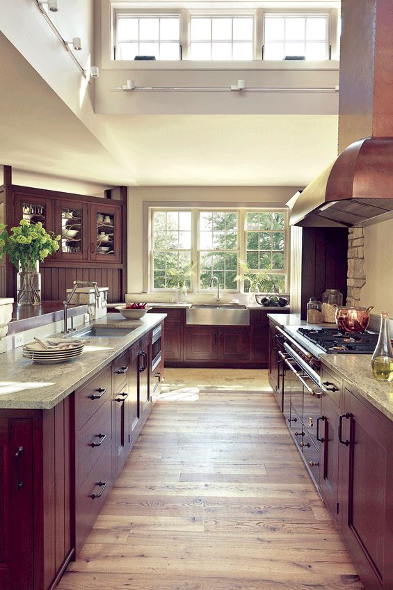 high ceiling kitchen love the natural light and open feeling - Kitchens With Cherry Cabinets