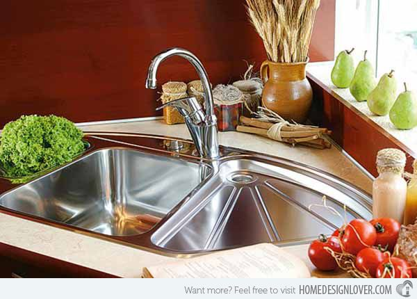 15 Cool Corner Kitchen Sink Designs - Corner Kitchen Sink | Image: Corner Kitchen Sinkz | Here is another stainless kitchen sink used usually for corners that has all the things you need while preparing food for cooking, washing, draining and the like.