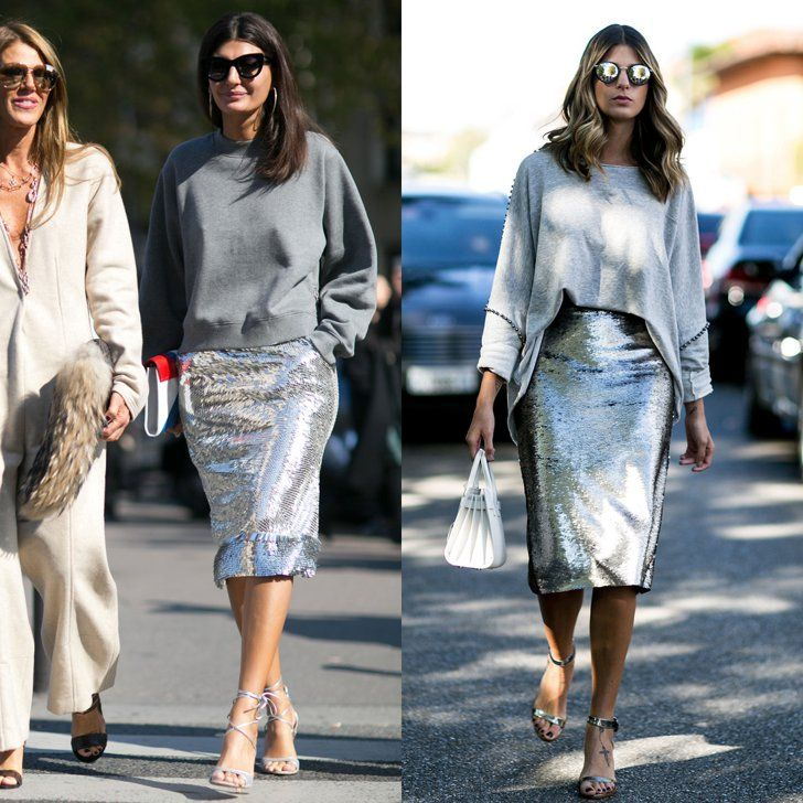 Pin for Later: These Street Style Doppelgängers Are Double the Fashion  Giovanna Battaglia and this showgoer were on the same page when they outfitted a silver sequined skirt with shades of gray.