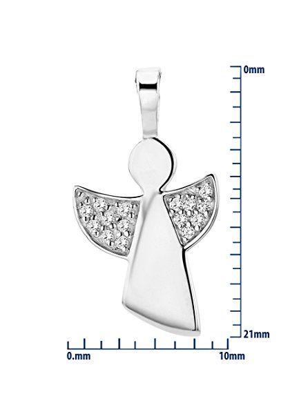 Miore Damen-Halskette 925 Sterling Silber mit Anhänger Schutzengel Zirkonia 45 cm