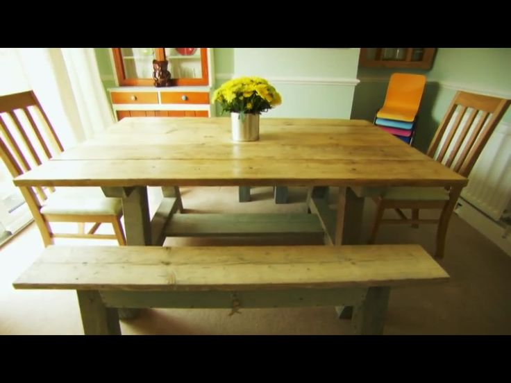 Scaffold planks, reclaimed timber table and benches
