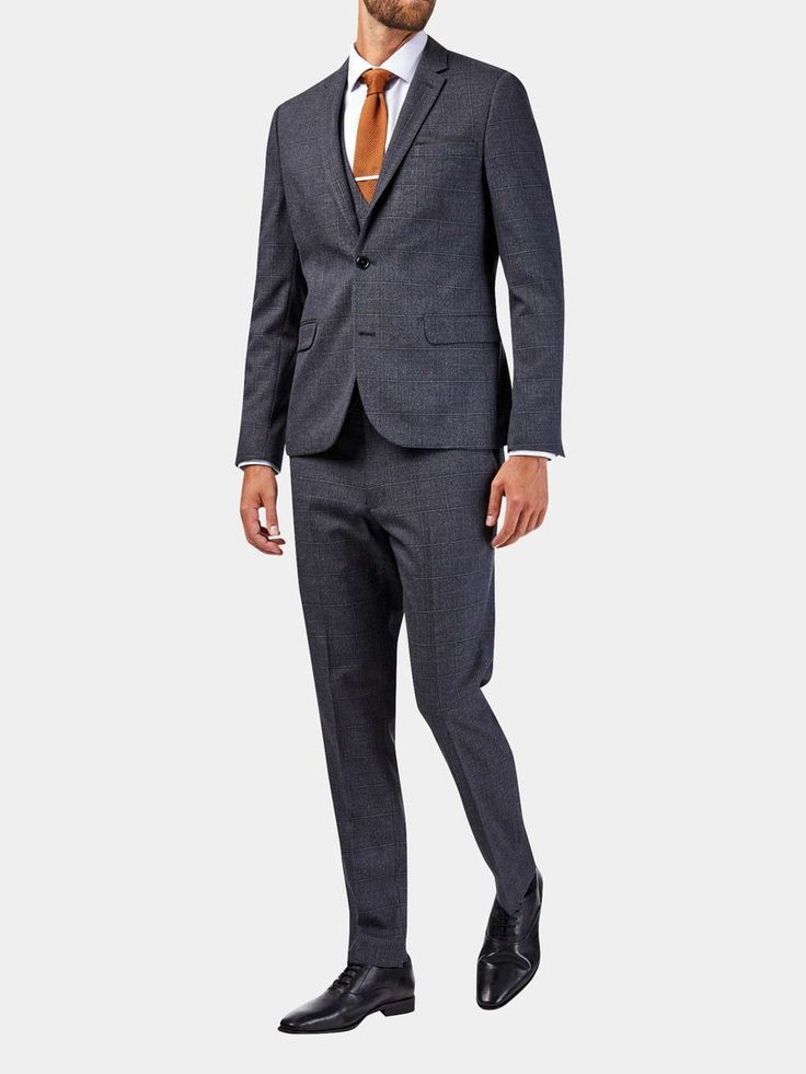 3 Piece Skinny Fit Grey Textured Check Suit