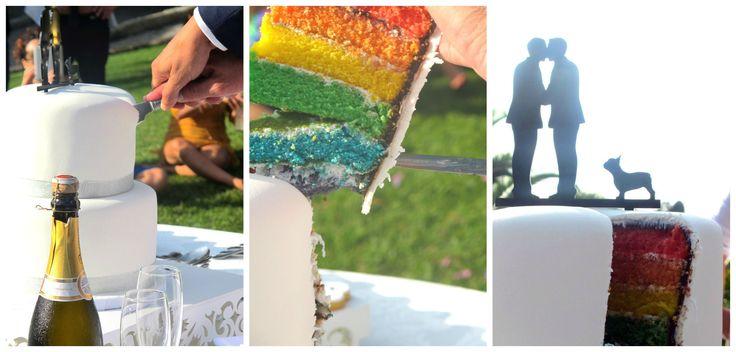 Taglio della torta arcobaleno Rainbow Cake Wedding
