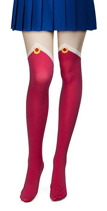These Sailor Moon Uniform Tights are so cute! It's like you dipped your legs in a pool of Sailor Moon and pulled them out covered in her boots.