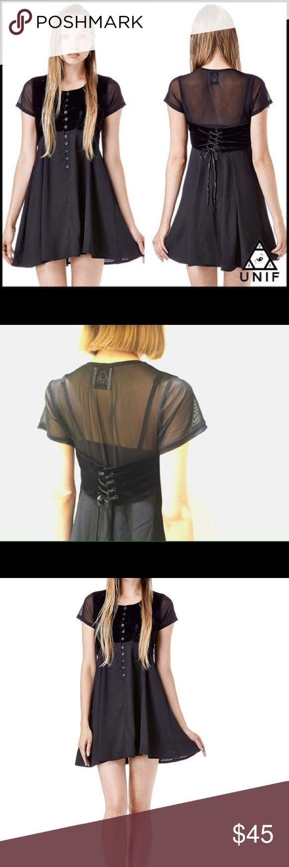 Black velvet button up dress Black velvet mesh dress size large, brand new UNIF Dresses Midi