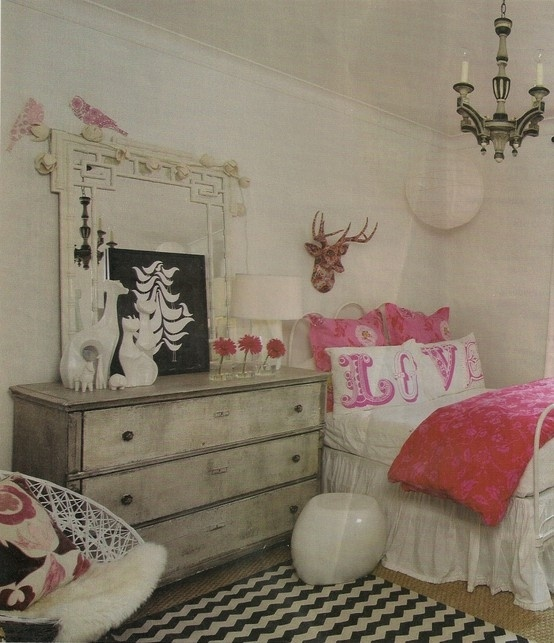Pink black and white teen girls bedroom around the - Pink and black teenage room ...