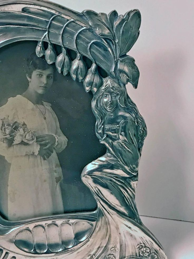 Rare Design Art Nouveau Pewter Photograph Frame, Austria, Argentor, C.1900 | From a unique collection of antique and modern picture frames at https://www.1stdibs.com/furniture/decorative-objects/picture-frames/