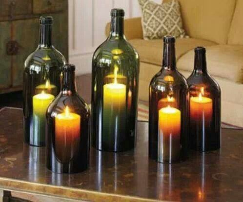 Cut the bottoms off wine bottles to use for candle covers. It keeps the wind from blowing them out when outside.    Tie a piece of Cotton twine around the bottle as close as possible to the bottom. Soak it with lighter fluid. Light it and when flame burns out just set the bottom of the bottle in a bowl of cold water – the bottom should fall right off.