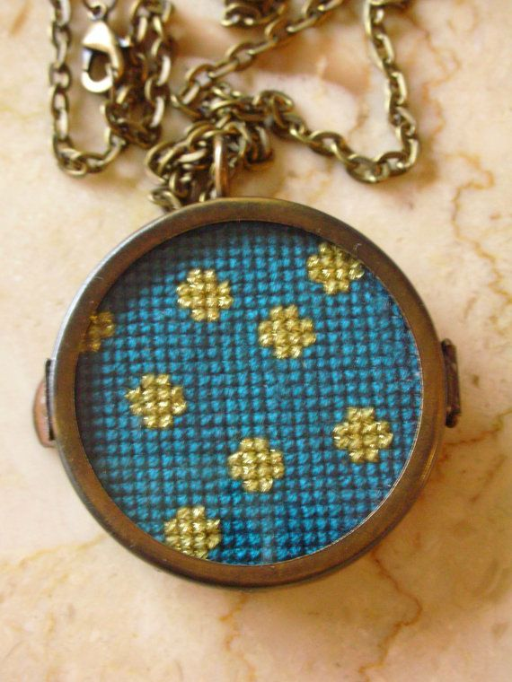 Teal & Gold Glitter Polka Dot Cross Stitch Necklace by blendblend, $34.99