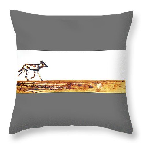 """Endangered African Wild Dog Throw Pillow 14"""" x 14"""" by Tracey Armstrong"""
