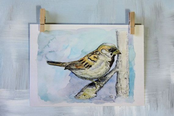 Argentinian Sparrow  ART PRINT 5x7  Gift for Her  by CatruSweetArt