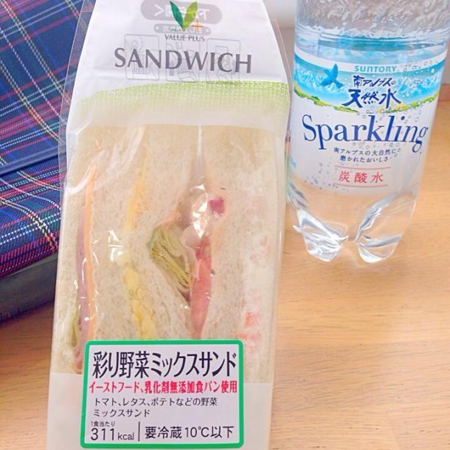 マナーモードにしたと安心してたらお迎えアラームが爆音((((;゚Д゚))))))) 説明の時で良かった眠くならないように軽めのランチ、前回の個人より安心感に一安心❗いただきます - 40件のもぐもぐ - Mix Sandwich&Sparkring water✨休憩(;-_-) =3 フゥ by Ami