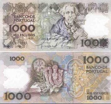 Portugal - 1000 escudos – Teófilo Braga Entrada em circulação: 04-08-1988 Retirada de circulação: 31-12-1997