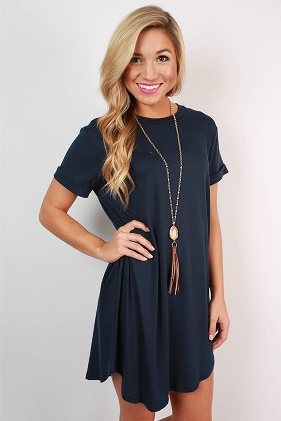 Take a chance on this navy t-shirt dress and you won't be disappointed!