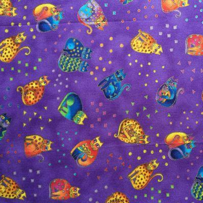 Purple Laurel Burch fabric by the fat quarter, Fanciful Felines fabric
