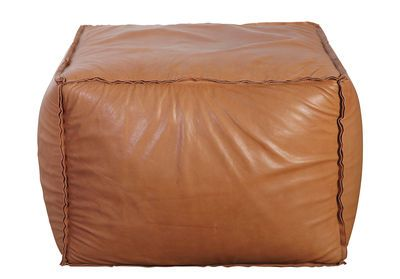 Soft Brick Pouf - /  Real leather - 60 x 60 cm