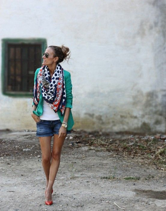 Jean shorts, white top, teal/green jacket, (fun!) patterned scarf, coral pumps