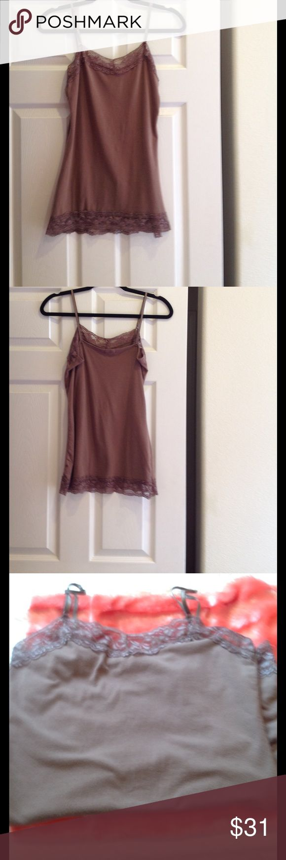 Zenana Outfitters women's camisole. Size M. Zenana Outfitters women's brown camisole with lace trim at top front and bottom of camisole. Elastic adjustable straps. Size M. Zenana Outfitters Tops Camisoles