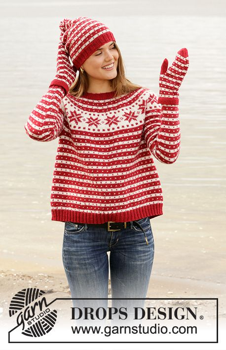 Candy Cane Lane Sweater – Strikket genser i DROPS Karisma. Stykket er arbeidet …  Candy Cane Lane Sweater –  Knitted jumper in DROPS Karisma. The piece is worked top down, with round yoke and Nordic pattern. Sizes S – XXXL. Free knitted pattern DROPS 205-22