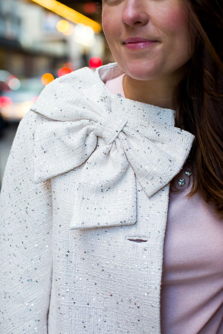 kate spade new york sequin bow coat from @nordstrom #nordstrom #katespade #bows
