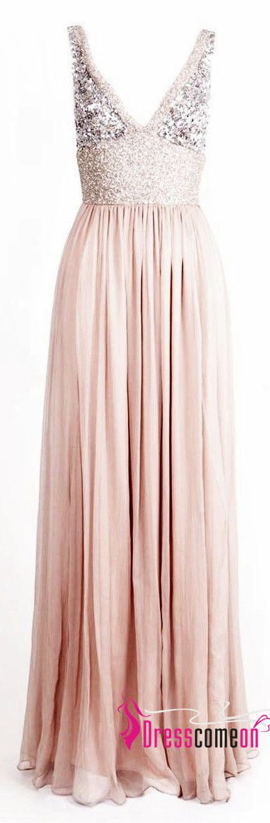 Blush Chiffon Bridesmaid Dresses,Off the Shoulder V Neck Sequin Bridesmaid Dresses ,A Line Bridesmaid Gowns,Charming Prom Dresses 2016,Long Prom Gowns,Evening Dress