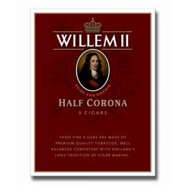 Expertly balanced, with layers of earthy, woody flavor, Willem II Half Corona cigars richness pairs so well with good food and drinks, making it a perfect after dinner cigars.