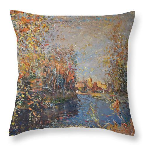 Landscape Throw Pillow featuring the painting Cheremukha River by Nikolay Malafeev