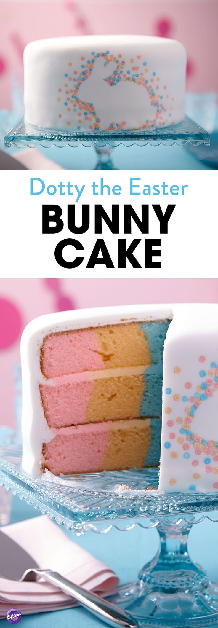 Color is popping out all over this Easter Bunny Cake! Vertical stripes of color create a surprise inside and bubbles of color surround a bunny silhouette outside. Use the Checkerboard Cake Set to easily create the tinted cake for a very special effect.