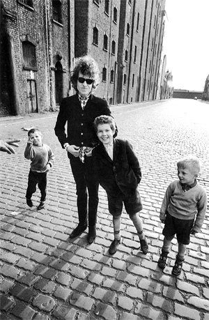 Bob Dylan in Dublin Street, close to the Dock Road on the north docks in Liverpool,