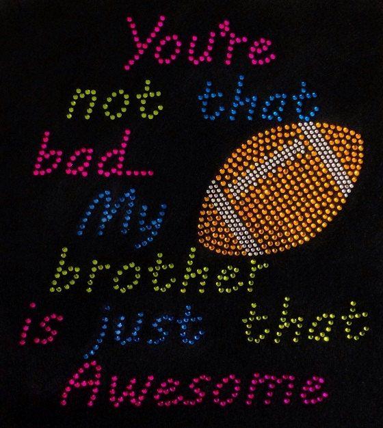Rhinestone Football Sister TShirt  Bling Shirt by DesignsbyDaffy, $18.95