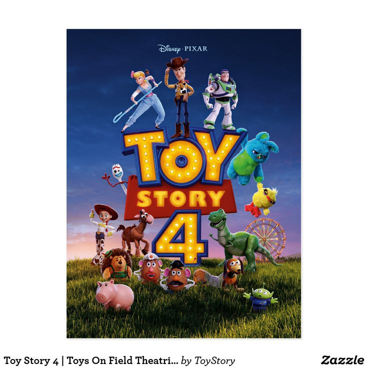 Toy Story 4 Toys On Field Theatrical Poster Postcard Zazzle Com Toy Story Full Movies Pixar Toys