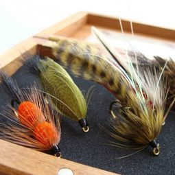 Fly fishing flies gift set in a lovely wooden box http://www.newzealandshowcase.com/productdetails.cfm/productid/619