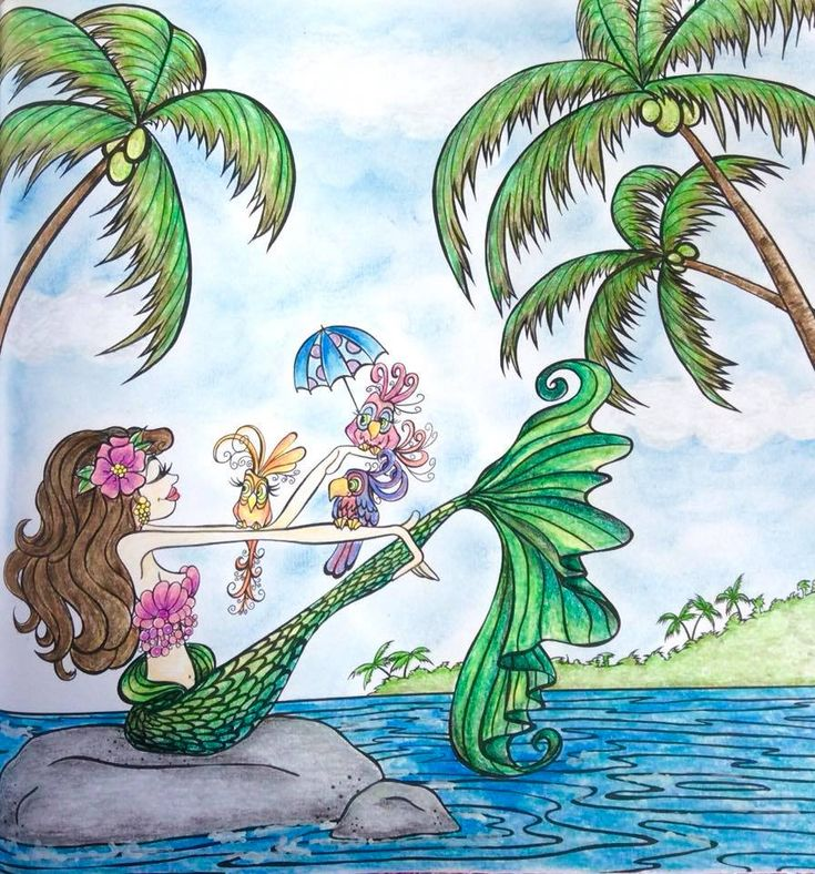 Mermaids 🧜♀️ in Paradise by Denyse Klette Derwent pencils