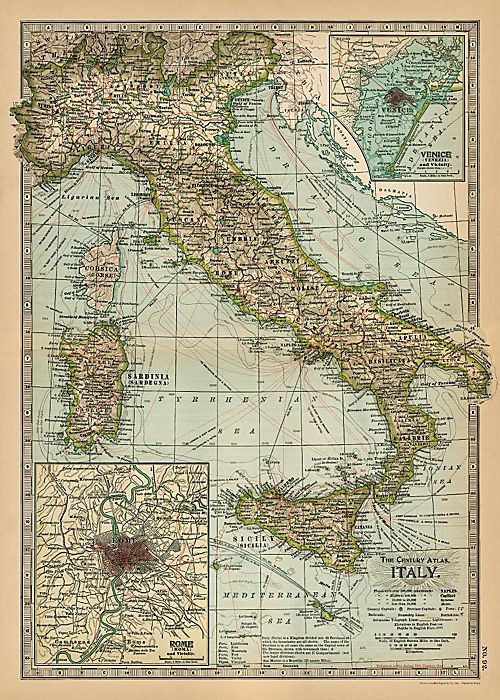 vintage map of ITALY atlas vintage map italian by ExLibrisJournals, $19.00
