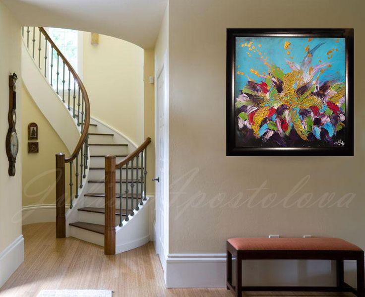 #FramedArt #OriginalPainting #AbstractFloral #AbstractFloralPainting #TurquoisePainting #GoldArt #LargeWallArt #Massive #BlackFrame #HomeDecor #WallArt by #JuliaApostolova