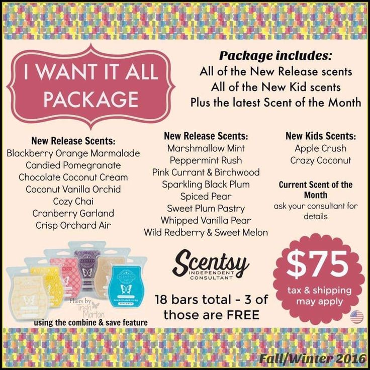 """Scentsy Fall and Winter 2016 New Release """"I Want it All"""" fragrance package... alexiscamacho.scentsy.us"""