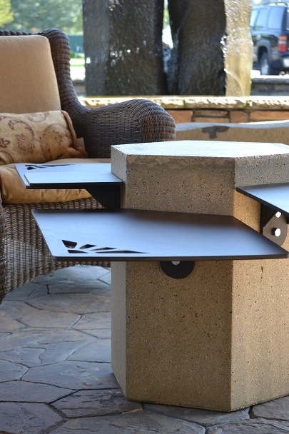 Rectangular Steel And Concrete Pedestal Table