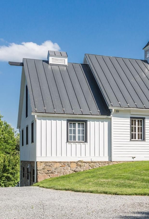 Best White Barn With Charcoal Metal Roof And Stone Foundation 400 x 300