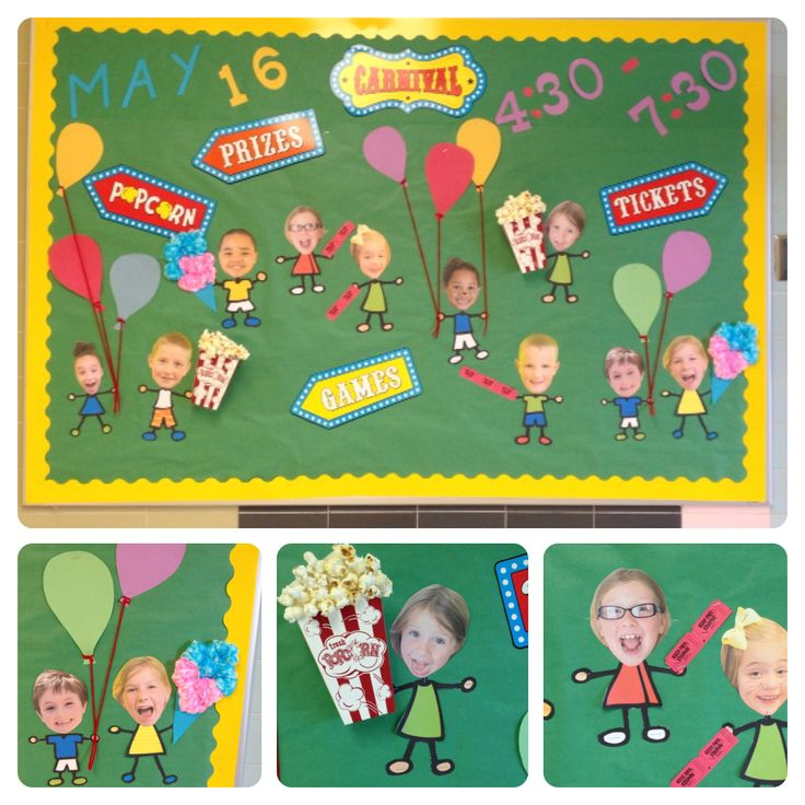 Carnival #PTO or #PTA bulletin board. Cute use of head shots!